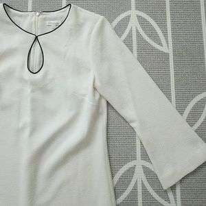 Shoshanna Off White 3/4 Sleeve Shift Dress